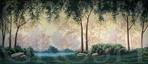Forest with Pond Backdrop Projection