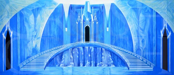 Frozen Ice Castle Interior Backdrop Projection