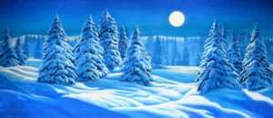 Snow Landscape with Full Moon