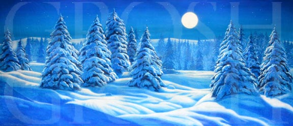 Snow Landscape with Full Moon Backdrop Projection