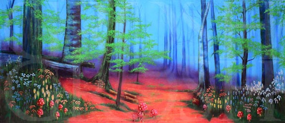 Enchanted Forest with Pink Floor Backdrop Projection