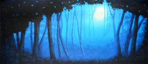 Blue Night Forest with Full Moon