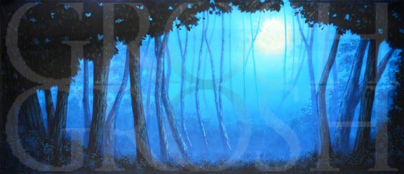 Blue Night Forest with Full Moon Backdrop Projection
