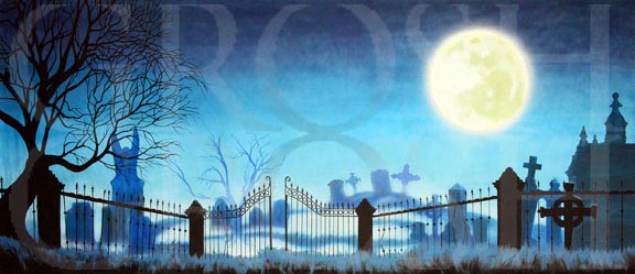 Addams Family Graveyard With Full Moon