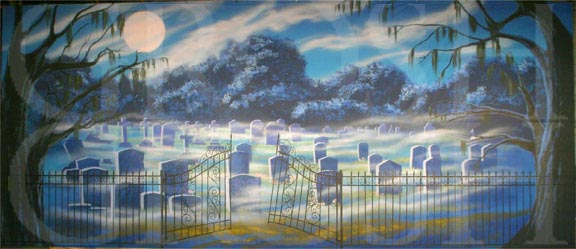 Addams Family Graveyard With Gate Backdrop Projection