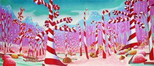 Willy Wonka candy cane forest