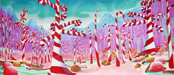 Charlie and the Chocolate Factory Candy Cane Land Backdrop Projection