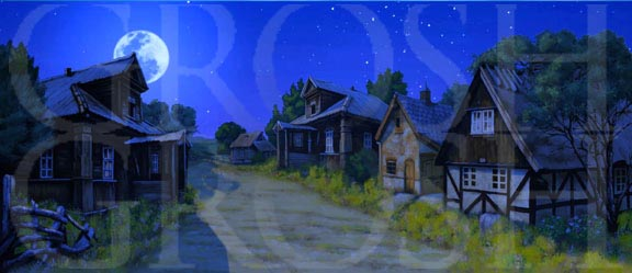 Fiddler on the Roof village at night backdrop projection