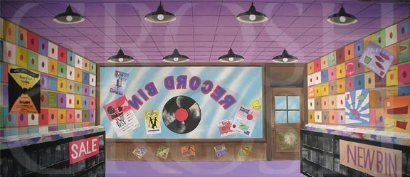 Hairspray Record Store Backdrop Projection