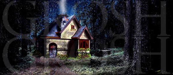 Into the Woods cottage backdrop projection