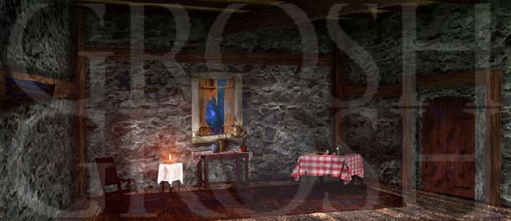 Into the woods grandma's cottage interior backdrop projection