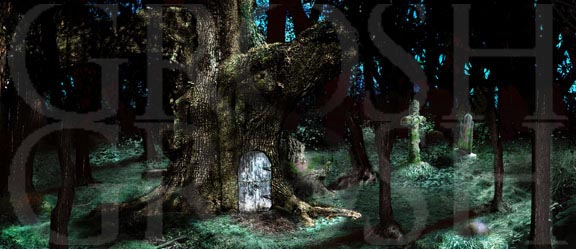 Into the Woods witch house in the woods backdrop projection