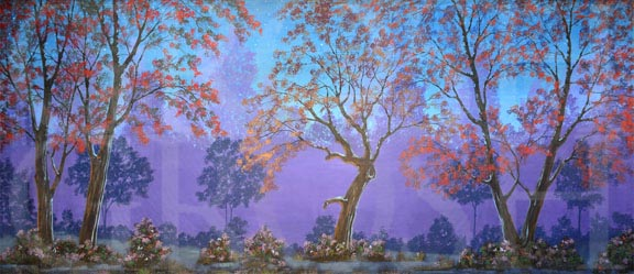 Mary Poppins Night Forest Backdrop Projection