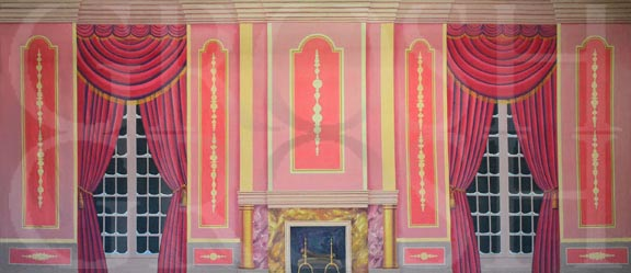 Mary Poppins Victorian Parlor Pink Backdrop Projections