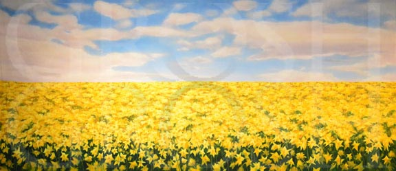 Shrek Daffodil Field Backdrop Projection