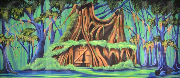 Shrek House Backdrop Projection