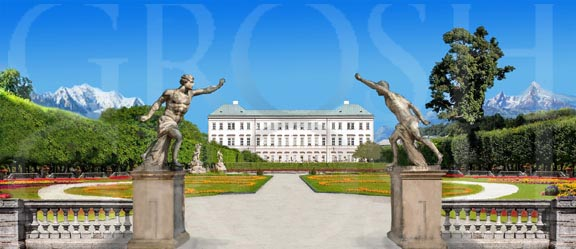 Sound of Music Garden With Statues Backdrop Projection