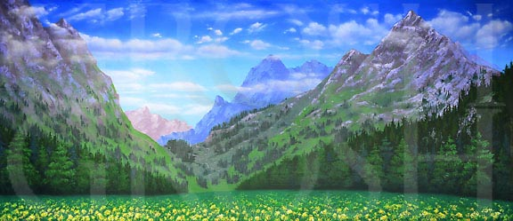 Sound of Music Mountain Landscape Backdrop Projection