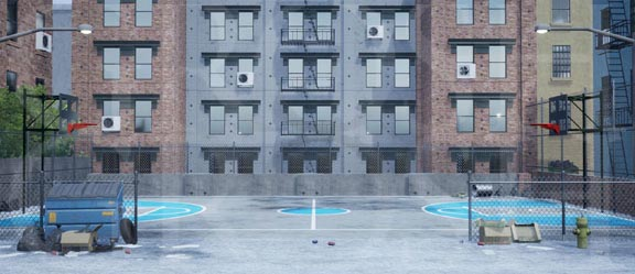 West Side Story Daytime Inner City Backdrop Projection