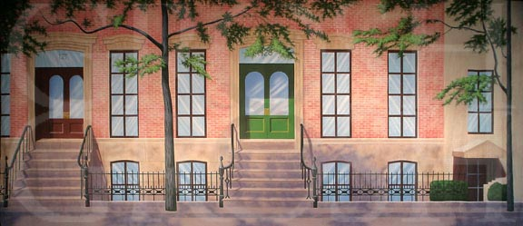 West Side New York Brownstone Backdrop Projection