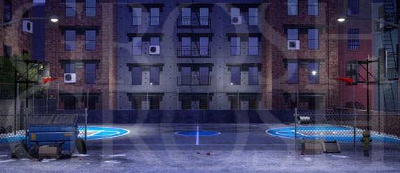 West Side Story Nighttime Inner City Backdrop Projection